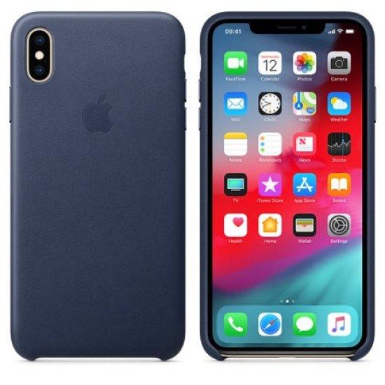 Apple Leather Case iPhone XS  Max Σκούρο Μπλε