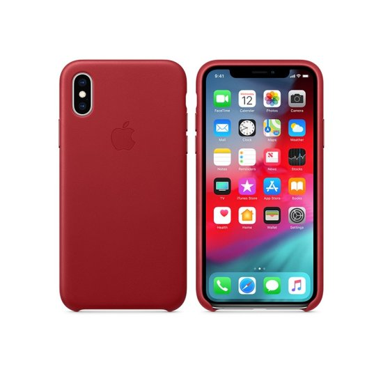 Apple Leather Case iPhone XS Κόκκινη