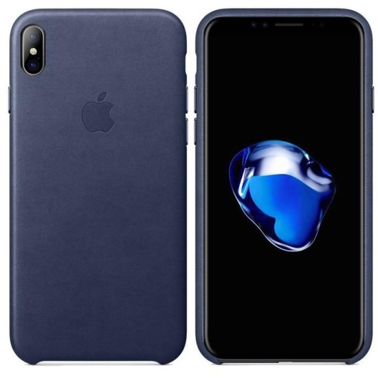 Apple Leather Case iPhone XS Σκούρο Μπλε