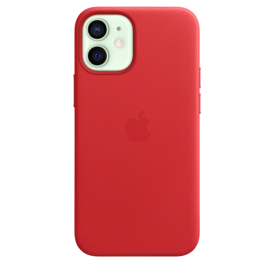 Apple Leather Case iPhone 12 Mini with MagSafe Κόκκινη