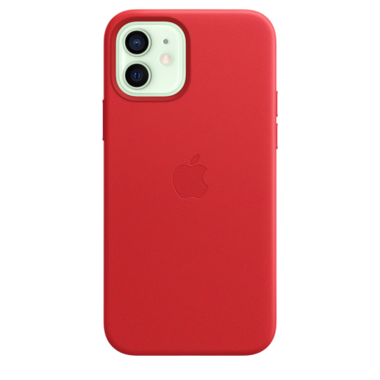 Apple Leather Case iPhone 12/12 Pro with MagSafe Κόκκινη