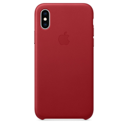 Apple Leather Case iPhone XS Κόκκινη