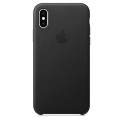 Apple Leather Case iPhone XS Μαύρη