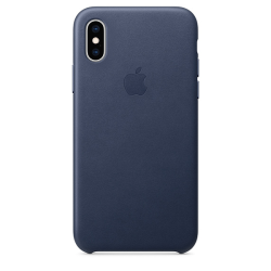 Apple Leather Case iPhone XS Σκούρο Μπλε