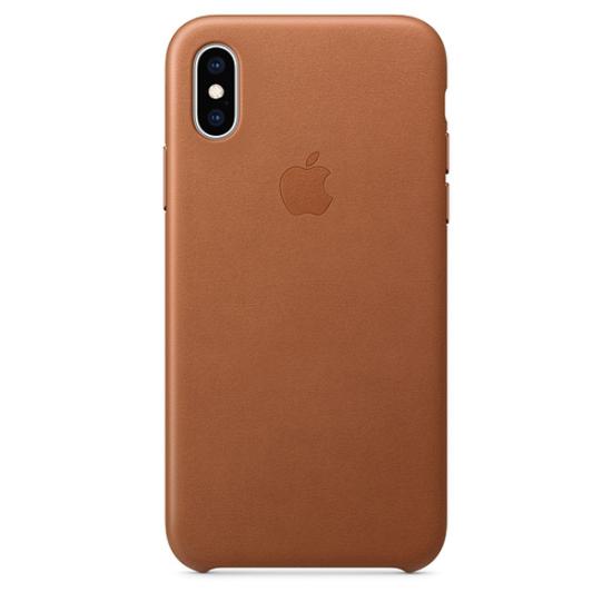 Apple Leather Case iPhone XS Καφέ