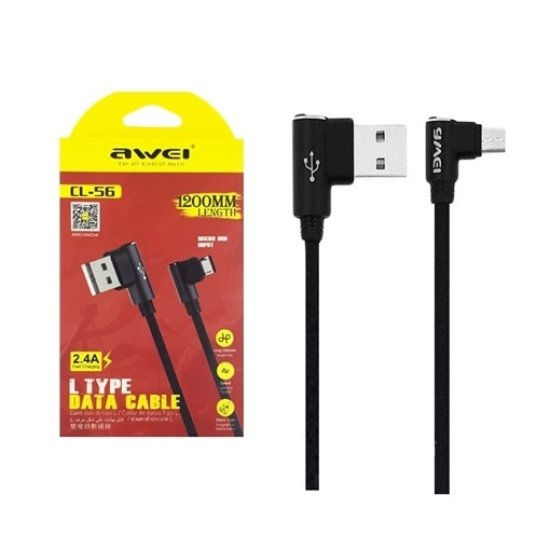 Awei USB 2.0 Cable Micro USB Μαύρο
