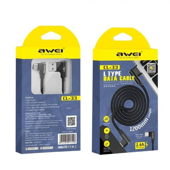 Awei USB 2.0 Cable Type-C Μαύρο