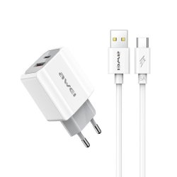 Awei Fast Charger & Type C Cable Λευκό