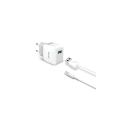Celly Travel Adapter 2.4A Kit Usb Light Cable Λευκό