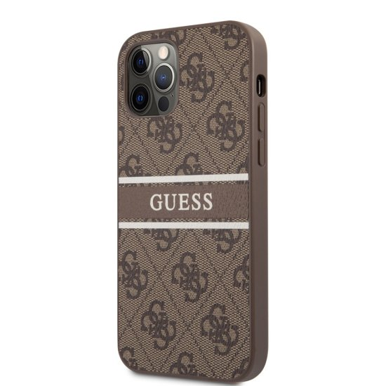 Guess 4G Metal Logo Back Cover Δερμάτινη iPhone 12 Pro Max Καφέ