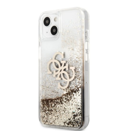 Guess 4G Logo Collection Θήκη Προστασίας  iPhone 13 Clear/Glitter Gold