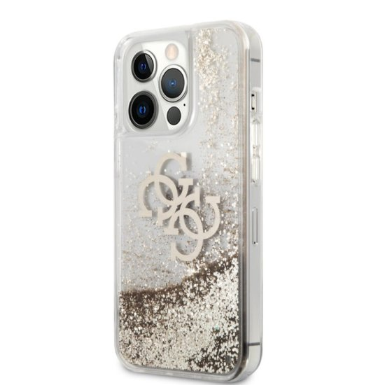 Guess 4G Logo Collection Θήκη Προστασίας  iPhone 13 Pro Max Clear/Glitter Gold