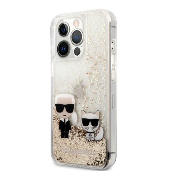 Karl Lagerfeld Hard Case Karl+Choupette  iPhone 13 Pro Max Clear/Glitter Gold