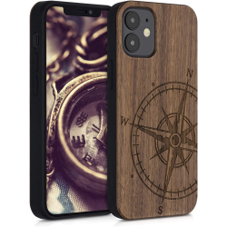 KWMobile Case Wooden Apple iPhone 12 mini Navigational Compass Καφέ