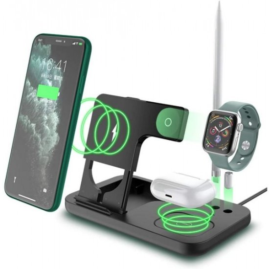 4 in 1 Wireless Charging Station Μαύρο
